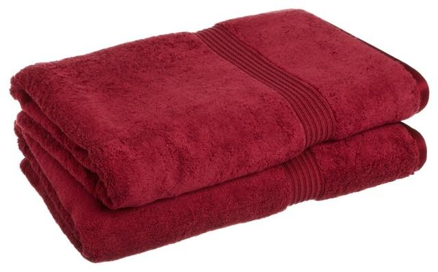 Superior Egyptian Cotton 2 Piece Oversized Bath Towel Set Burgundy