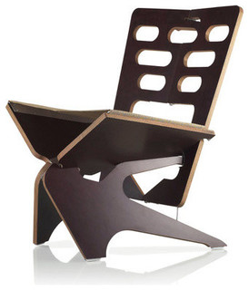 Star Contemporary Lounge Chair, Folds Flat, Espresso Brown, Rust