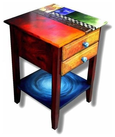 Miraculous Studio 78 Two Drawer Hand Painted End Table Onthecornerstone Fun Painted Chair Ideas Images Onthecornerstoneorg