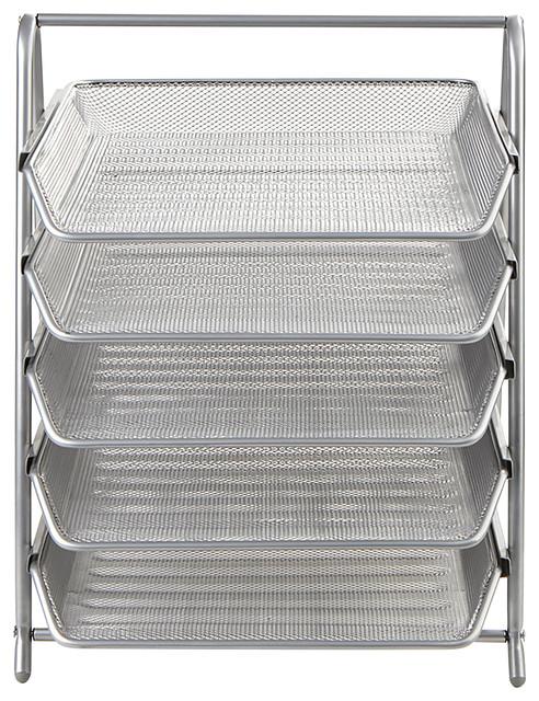 5 Tier Steel Mesh Paper Tray Desk Organizer, Silver.