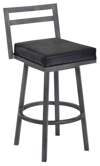 Groovy Moniq 30 Bar Height Metal Swivel Barstool Black Faux Leather Mineral Finish Pdpeps Interior Chair Design Pdpepsorg