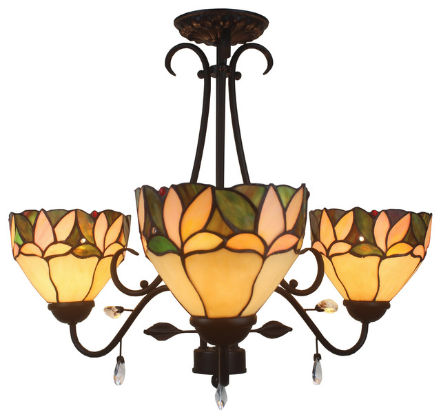 Apple 3-Light Leafy 16   Tiffany Style with Crystals Ceiling Lamp TF16C-3LTS