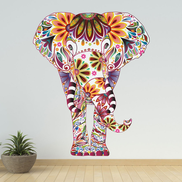 Colorful Elephant Wall Decal Mediterranean Wall Decals By My - Elephant wall decals
