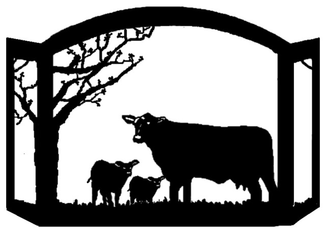 Exclusive Black Angus Cattle scenic western fireplace screen has a family of Black Angus Cattle with the bull