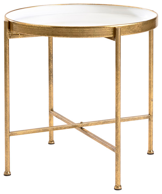 Large Gild Pop Up Tray Table White