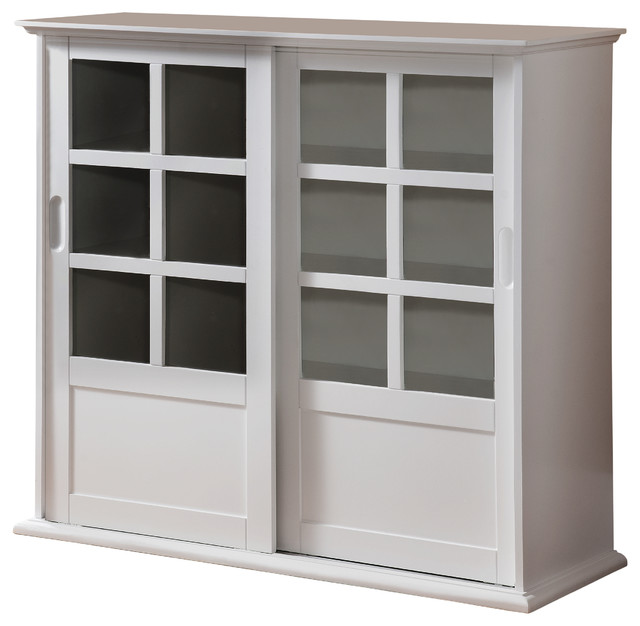 Arran Wood Curio Cabinet With Sliding Glass Doors White