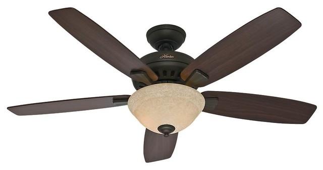"Hunter Banyan 52"" Ceiling Fan With Light, New Bronze."