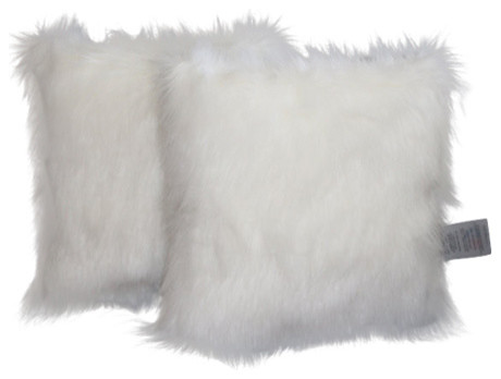 Faux Fur Pillow Cover Arctic Fox White 18x18 Set Of 2