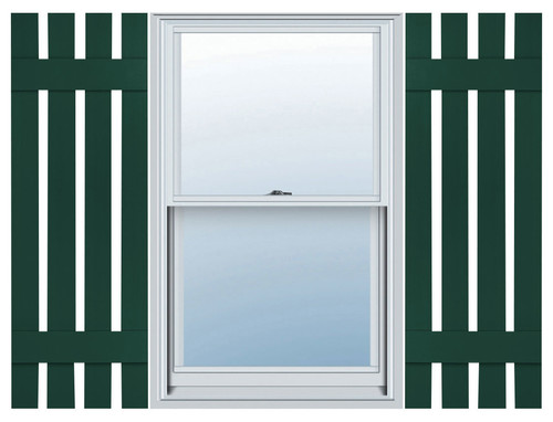 MidAmerica Four Board Spaced, BnB Shutters, Midnight Green, 24x16-1/4