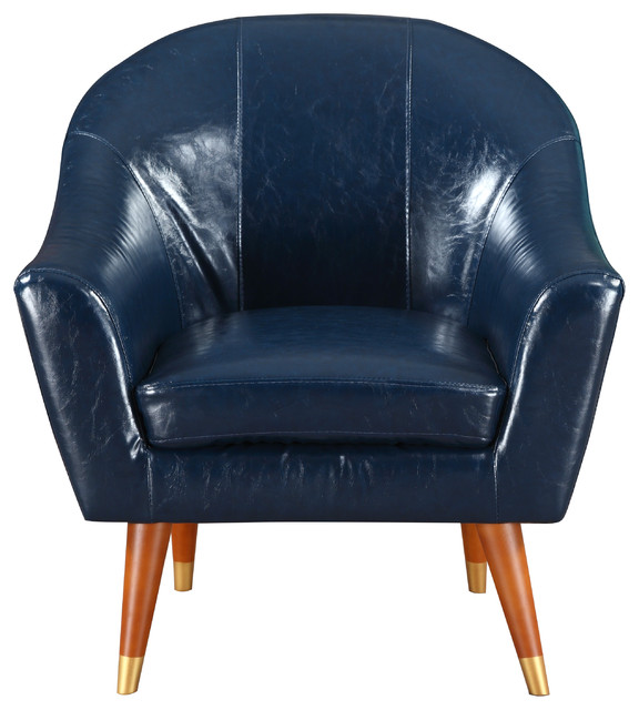 Mid Century Modern Bonded Leather Living Room Accent Chair