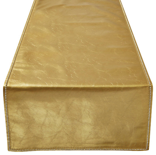 Faux Leather Embossed Crystal Accented Table Runner