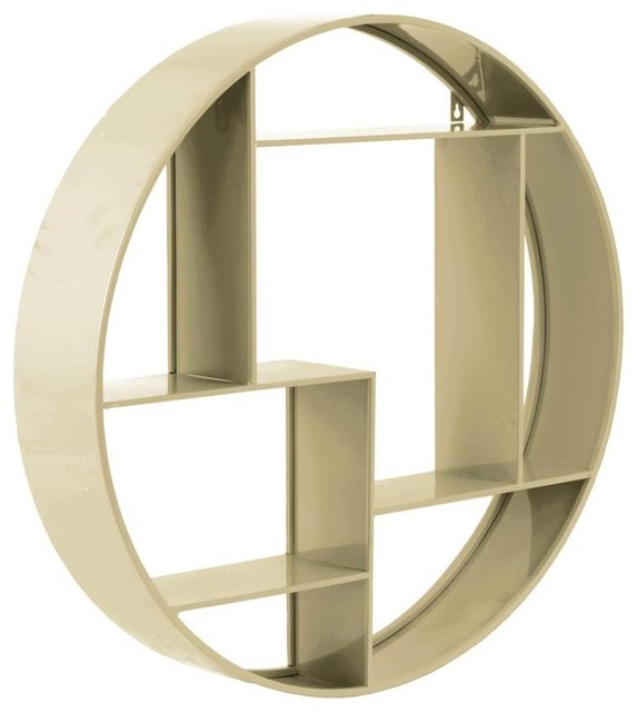 7-Slots Round Wall Shelf, Champagne Finish contemporary-display-and-wall