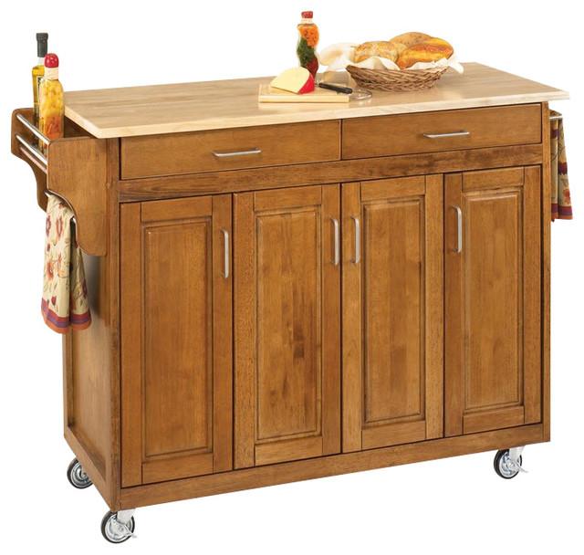 Tiberius Cuisine Cart, Cottage Oak, Wood Top