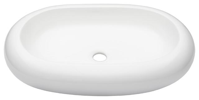 Novatto Bianco Ovale Ceramic Vessel Bathroom Sink.