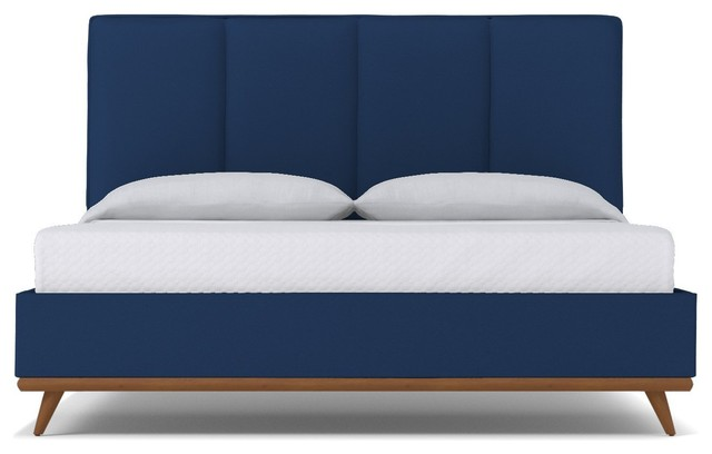Carter Upholstered Bed, Cobalt Velvet, California King.