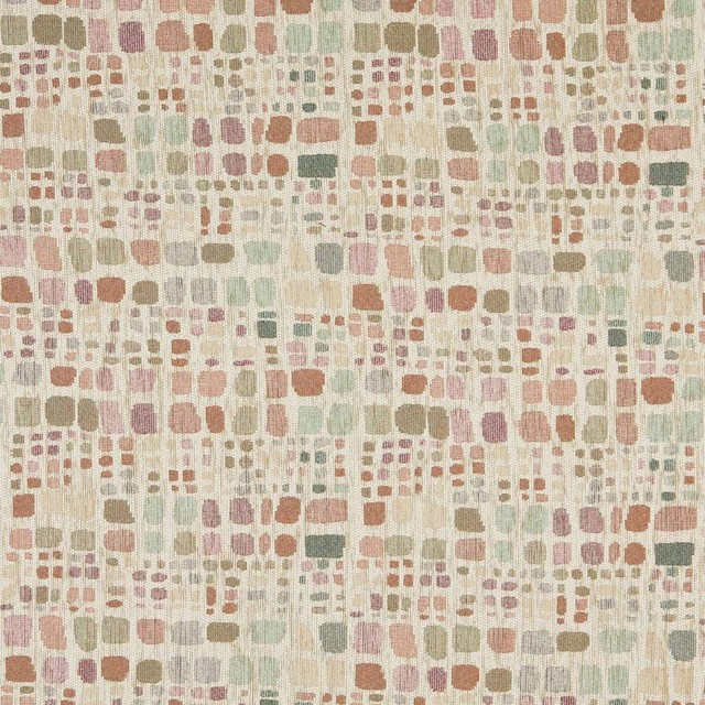 Green Pink And Ivory Geometric Chenille Upholstery Fabric By The Yard