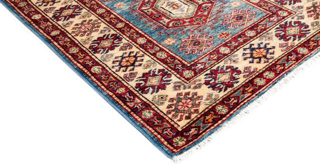Kazak Hand Knotted Area Rug, Delphi Design, Blue, 2'10