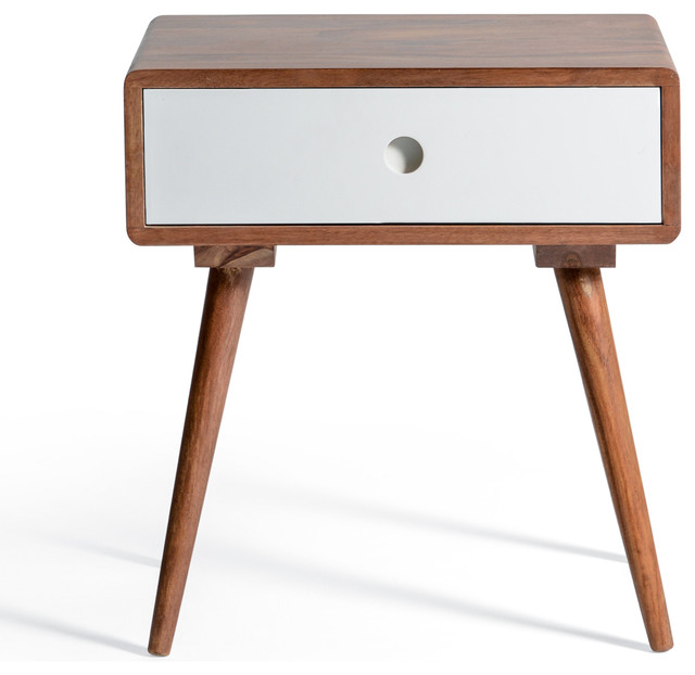 9b2f0107dfb26 Ingrid Mid Century Modern White Bedside Table With Drawer - Midcentury -  Nightstands And Bedside Tables - by Houzz