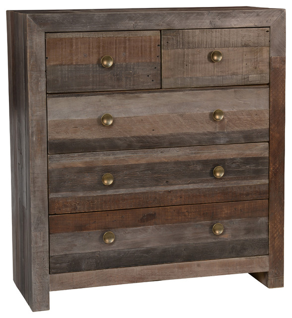 Norman Reclaimed Pine 5 Drawer Dresser Distressed Charcoal By Kosas Home.