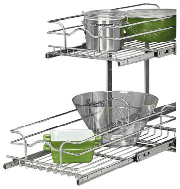 Base Cabinet Pull-Out Chrome Two-Tier Wire Basket - Cabinet And Drawer Handle Pulls - by Rev-A-Shelf
