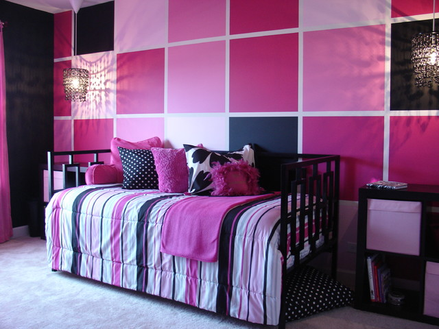 Pink and black tween bedroom contemporary chicago by for Bedroom designs pink and black