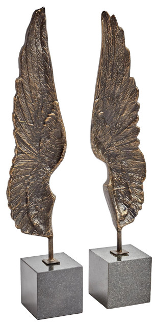 2 Piece Elegant Tall Ornate Wings Sculpture Set Bronze Contemporary Decorative Objects And Figurines By My Swanky Home Houzz