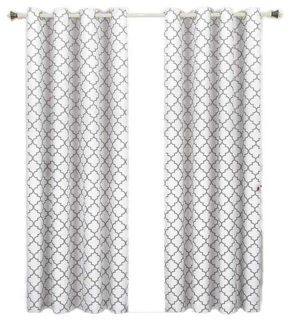 "Meridian Room Darkening Thermal Grommet Panels, Set Of 2, White, 104""x84""."
