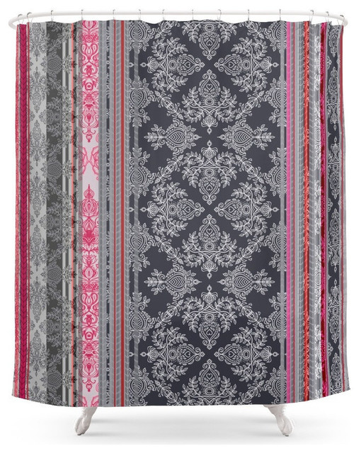 Burgundy Pink Navy And Gray Vintage Bohemian Wallpaper Shower Curtain