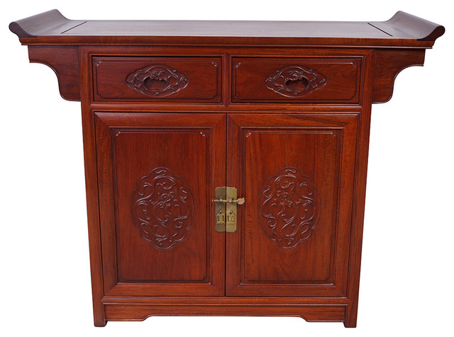 Consigned Vintage Chinese Rosewood Altar Cabinet Sideboard asian -buffets-and-sideboards - Consigned Vintage Chinese Rosewood Altar Cabinet Sideboard - Asian