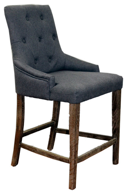 Tufted High Back Ivory Counter Chair Contemporary Bar