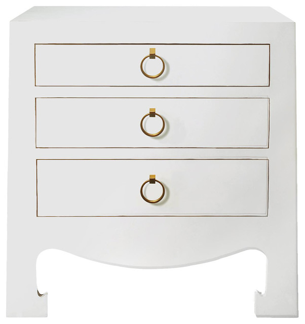 Attirant Una Hollywood Regency Golden White Lacquer Nightstand