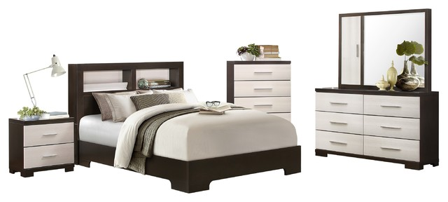 5-Piece Pearle Cal King Bed, Dresser, Mirror, Nightstand, Chest White/Esp