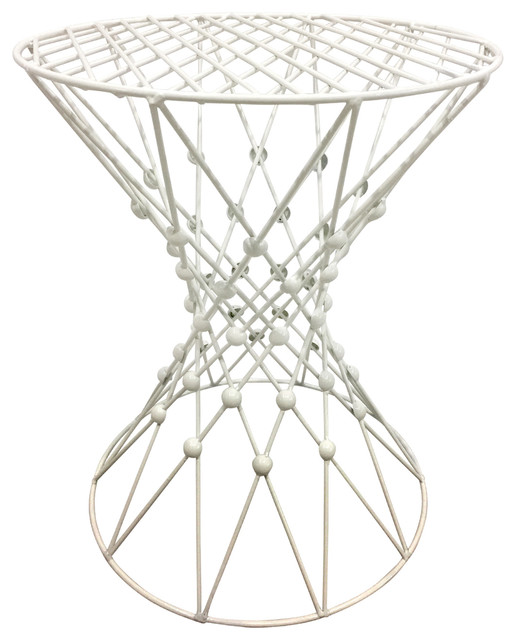 Three Hands Metal Accent Table White