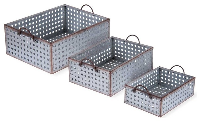 Captivating Perforated Galvanized Bins, Set Of 3 Industrial Storage Bins And Boxes