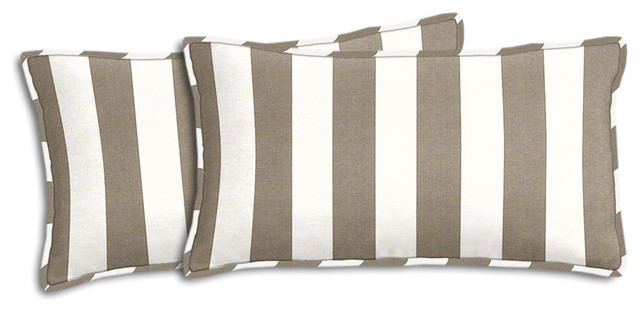 taupe and white striped outdoor lumbar pillow set cushionsand