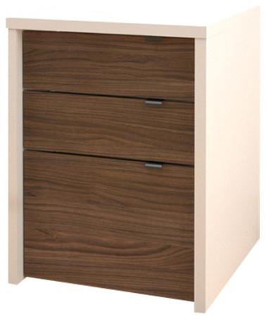 Liber T 3 Drawer Filing Cabinet 211203 From Nexera, White/Walnut  Contemporary