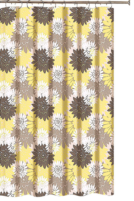 Fl Shower Curtain Brown Taupe, Yellow And White Shower Curtains