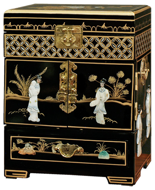 Mother of Pearl Motif Jewelry Cabinet Asian Jewelry Boxes And