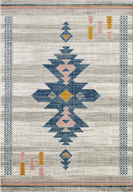 Tribal Print Blue And Orange Area Rug