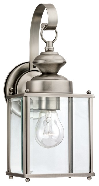 Sea Gull Jamestowne One Light Outdoor Wall Lantern Antique Brushed Nickel Transitional Lights And Sconces By Better Living