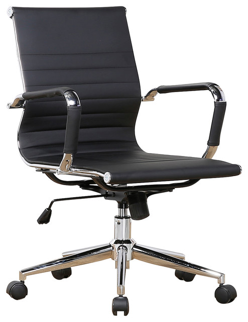 Mid Back Ribbed Upholstered Leather Swivel Chair With Arm, Black