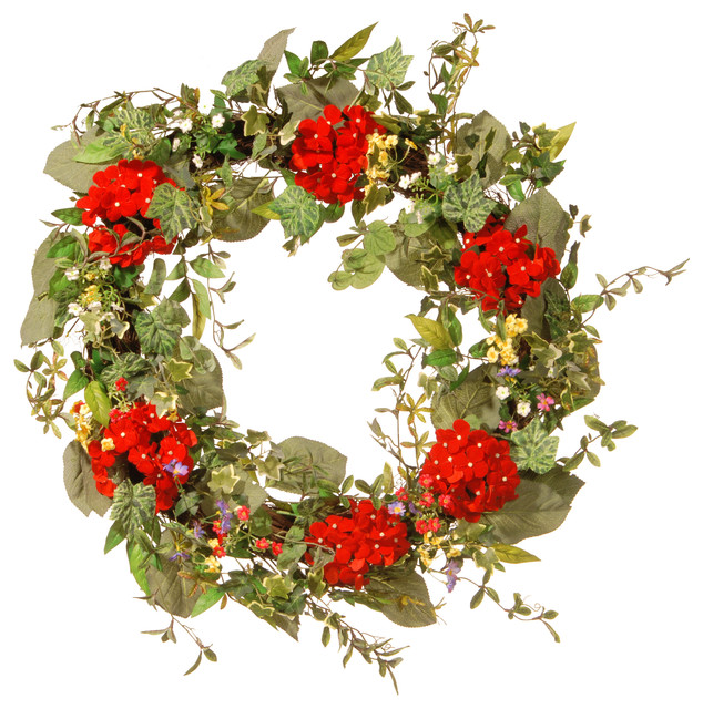 """32"""" Mixed Ivy/Flower Spring Wreath"""