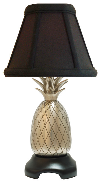 Pineapple Accent Lamp Polished Brass With Black Shade