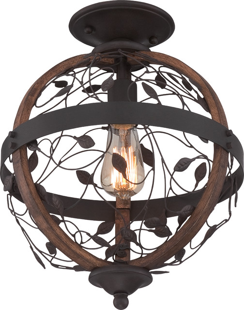 Luxury Art Nouveau Bronze And Wood Ceiling Light, Uql2193, Montreal Collection.