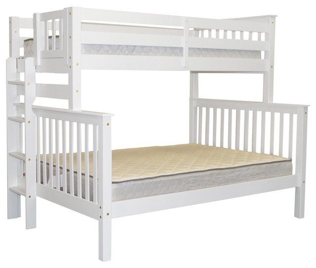 Bedz King Bunk Beds Twin Over Full With End Ladder, White.