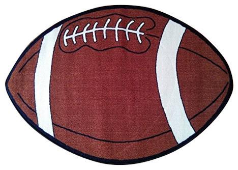 Kids Sports Football Shape Area Rug, 2&x27;x4&x27;.