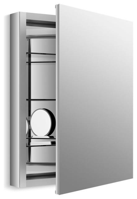 "Kohler Verdera Aluminum Medicine Cabinet Flip-Out Flat Mirror, 24""x30""."