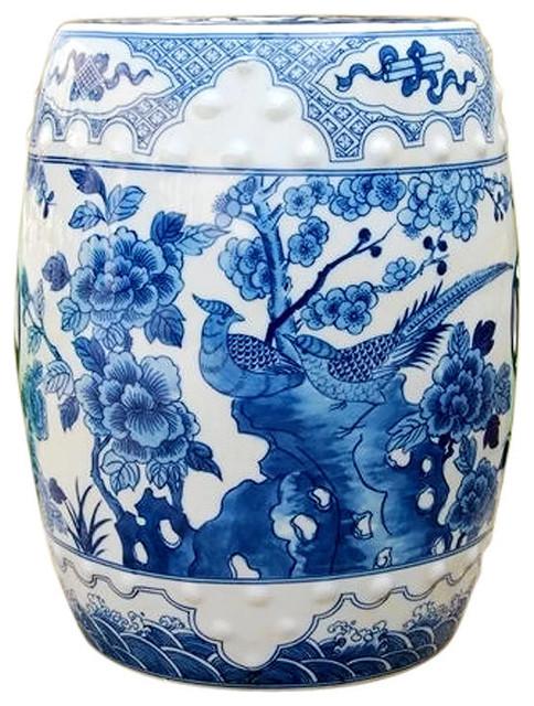 White Porcelain Garden Stool Bird Motif, Blue And White Asian Garden Stool