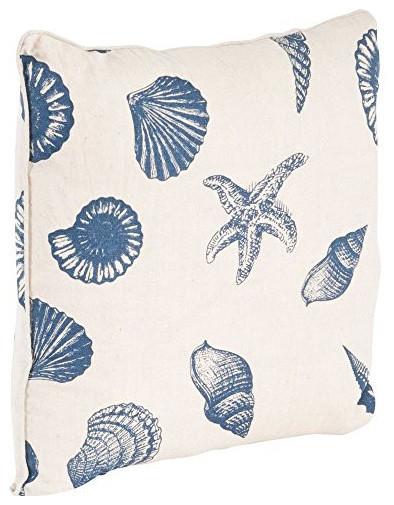 Nautical Beach Print Down Filled Throw Pillow, 18