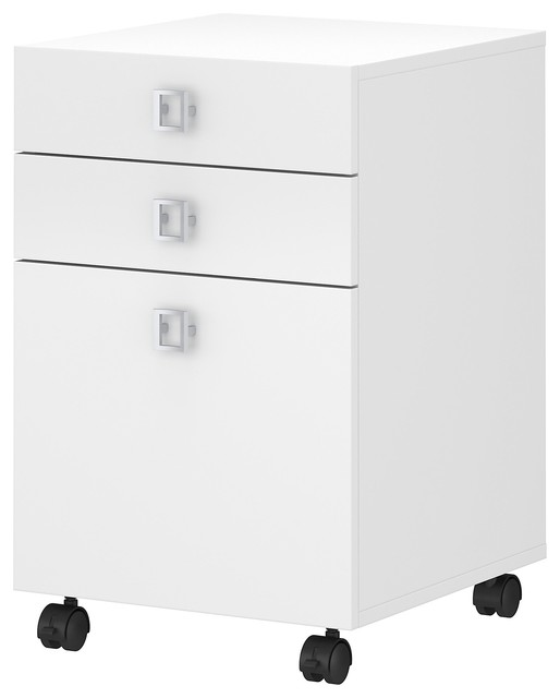 Echo 3 Drawer Mobile File Cabinet, White.